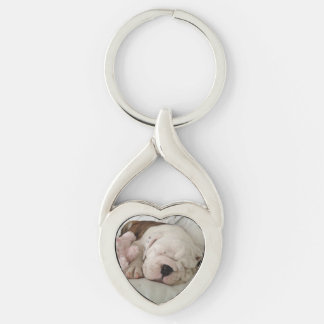 Bulldog Puppy Sleeping Key Chain Silver-Colored Twisted Heart Key Ring