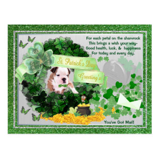 Bulldog Puppy St Patty's You've Got Mail Postcard