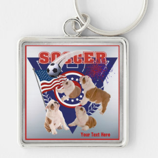 Bulldog Puppy US Flag Soccer Design – Customize It Key Chains