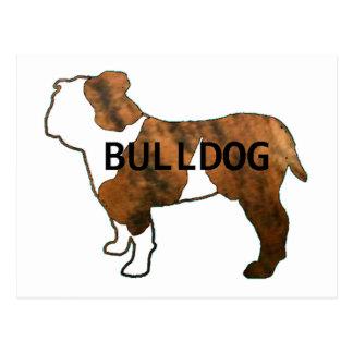 bulldog red brindle and white name silo postcard