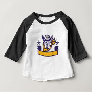 Bulldog Sheriff Cowboy Head Banner Retro Baby T-Shirt