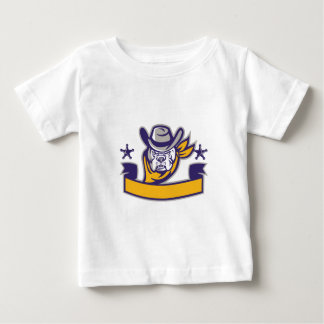 Bulldog Sheriff Cowboy Head Banner Retro Baby T-Shirt