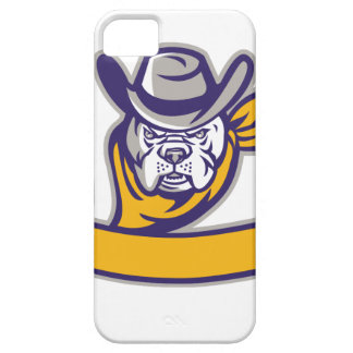 Bulldog Sheriff Cowboy Head Banner Retro Barely There iPhone 5 Case