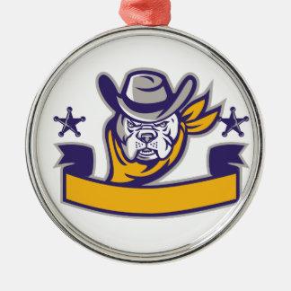Bulldog Sheriff Cowboy Head Banner Retro Metal Ornament