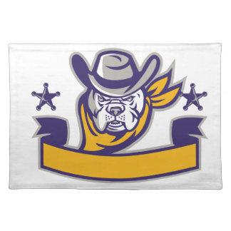Bulldog Sheriff Cowboy Head Banner Retro Placemat