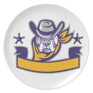 Bulldog Sheriff Cowboy Head Banner Retro Plate