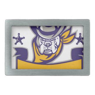 Bulldog Sheriff Cowboy Head Banner Retro Rectangular Belt Buckle