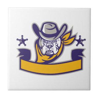 Bulldog Sheriff Cowboy Head Banner Retro Tile