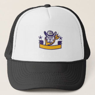 Bulldog Sheriff Cowboy Head Banner Retro Trucker Hat