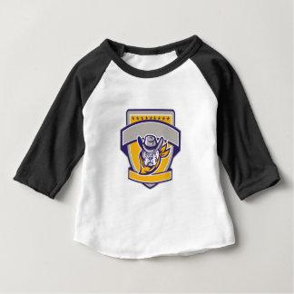 Bulldog Sheriff Cowboy Head Shield Retro Baby T-Shirt
