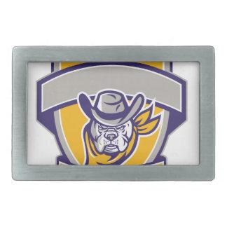 Bulldog Sheriff Cowboy Head Shield Retro Belt Buckle