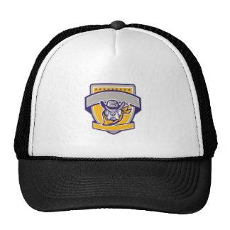 Bulldog Sheriff Cowboy Head Shield Retro Cap