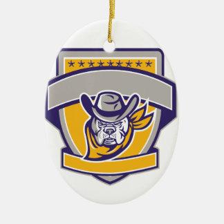 Bulldog Sheriff Cowboy Head Shield Retro Ceramic Ornament