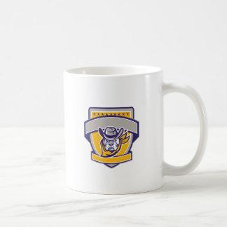 Bulldog Sheriff Cowboy Head Shield Retro Coffee Mug
