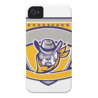 Bulldog Sheriff Cowboy Head Shield Retro iPhone 4 Cases