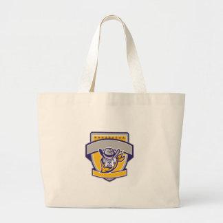 Bulldog Sheriff Cowboy Head Shield Retro Large Tote Bag