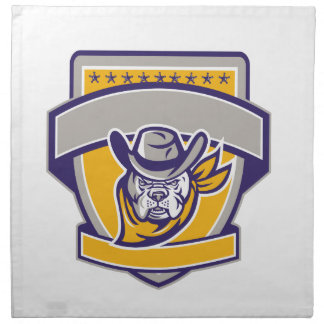 Bulldog Sheriff Cowboy Head Shield Retro Napkin
