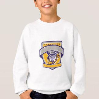 Bulldog Sheriff Cowboy Head Shield Retro Sweatshirt