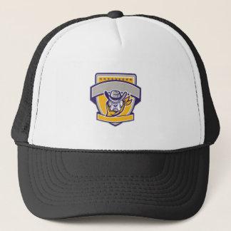 Bulldog Sheriff Cowboy Head Shield Retro Trucker Hat
