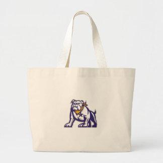 Bulldog Sheriff Crouching Retro Large Tote Bag