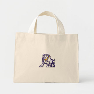 Bulldog Sheriff Crouching Retro Mini Tote Bag