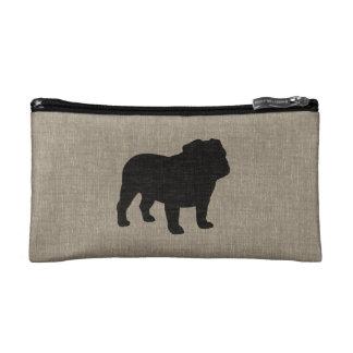 Bulldog Silhouette | Faux Linen Burlap Cosmetic Bags