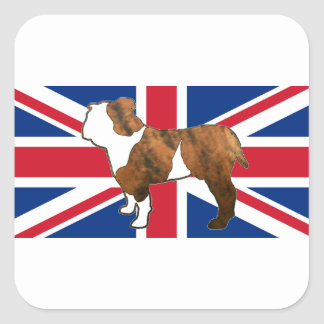 bulldog silhouette on flag red brindle and white.p square sticker