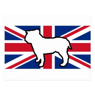 bulldog silhouette on flag white postcard