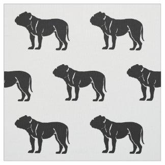 Bulldog Silhouette Pattern Pets Fabric