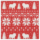 Bulldog Silhouettes Christmas Sweater Pattern Fabric