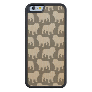 Bulldog Silhouettes Pattern Carved Maple iPhone 6 Bumper Case