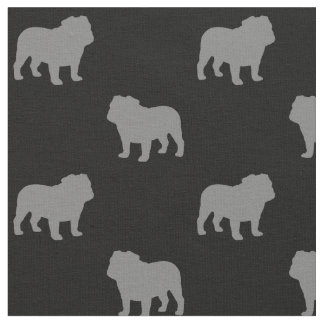 Bulldog Silhouettes Pattern Fabric