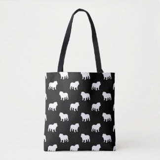 Bulldog Silhouettes Pattern Tote Bag