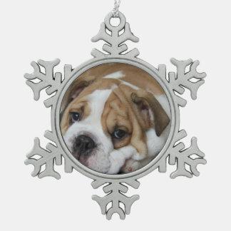 Bulldog Snowflake Pewter Christmas Ornament