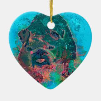 Bulldog Splash Watercolor Painting Ceramic Heart Decoration