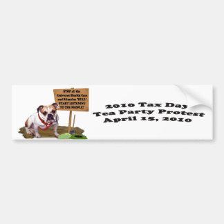 Bulldog Tax Day Tea Party Protest Bumper Sticker