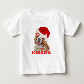 Bulldog Wants Kisses For Christmas Baby T-Shirt