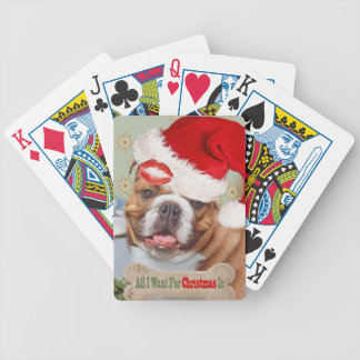 Bulldog Wants Kisses For Christmas Bicycle Playing Cards