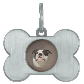 Bulldog Water Color Art Painting Pet ID Tag