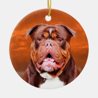 Bulldog Watercolor Art Portrait Ceramic Ornament