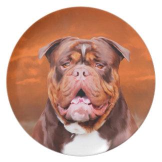 Bulldog Watercolor Art Portrait Plate
