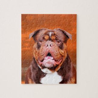 Bulldog Watercolor Art Portrait Puzzle