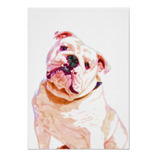 Bulldog Watercolor Portrait 5x7 Print Card
