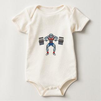 bulldog weight lifter baby bodysuit