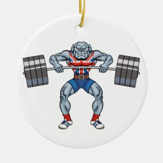 bulldog weight lifter ceramic ornament