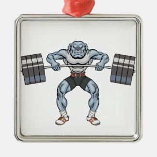 bulldog weight lifter metal ornament