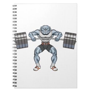 bulldog weight lifter notebook