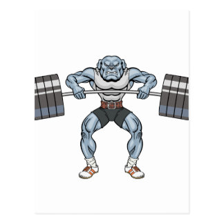 bulldog weight lifter postcard