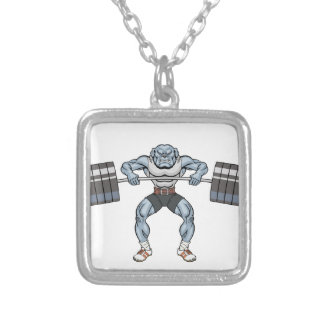 bulldog weight lifter silver plated necklace