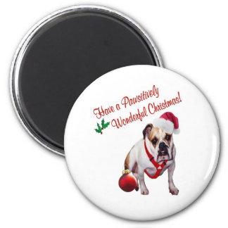Bulldog Wishes for Pawsitively Wonderful Christmas 6 Cm Round Magnet